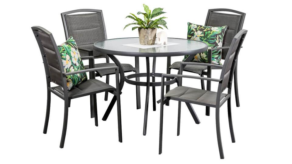 Aluminium Outdoor Dining Sets Kingston 4 Seater Round Segals Outdoor Furniture Perth