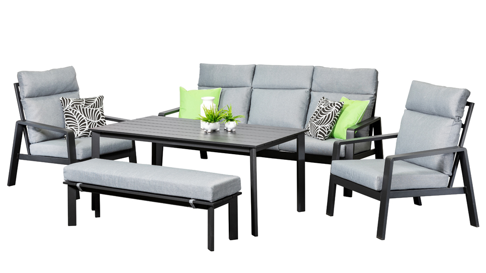 Outdoor Patio Couch Set, Marseille Highback Dining Sofa Set Black Outdoor Lounge Segals Outdoor Furniture Perth