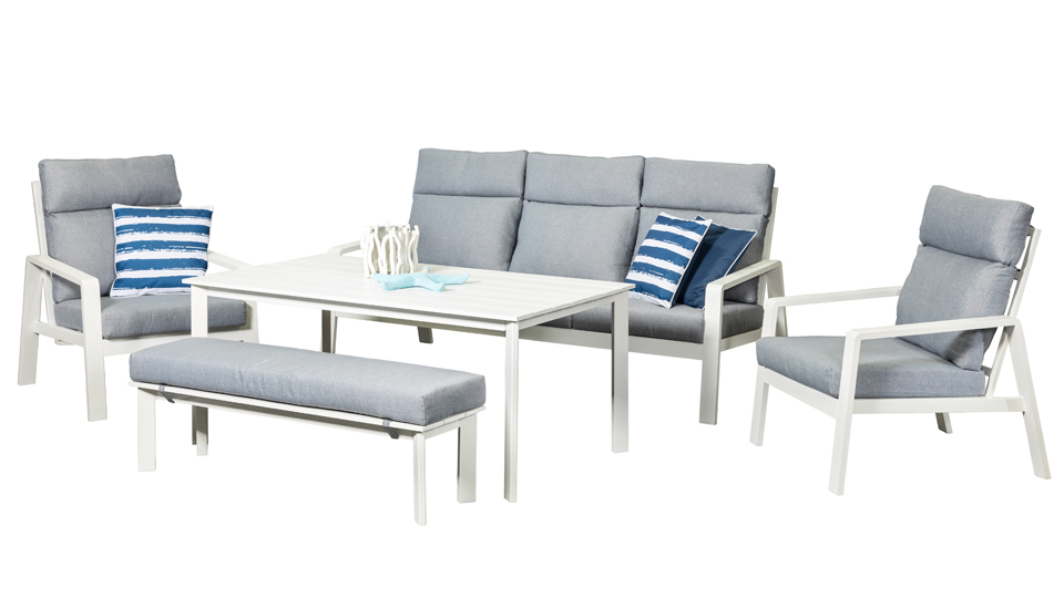 Outdoor Patio Couch Set, Marseille Highback Dining Sofa Set White Outdoor Lounge Segals Outdoor Furniture Perth